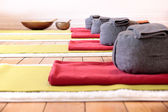 Yoga mats and Yoga Cushion — Stock Photo