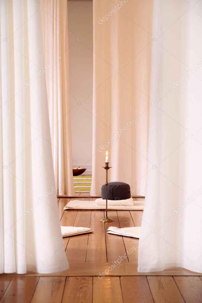 Meditation room with white curtains stock photo for Meditation living room