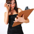 Stock Photo: Lady holding clipboard