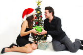 Couple celebrating Christmas — Stock Photo
