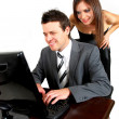 Business man and woman with a computer — Stock Photo