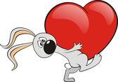 Conejo con corazón — Vector de stock