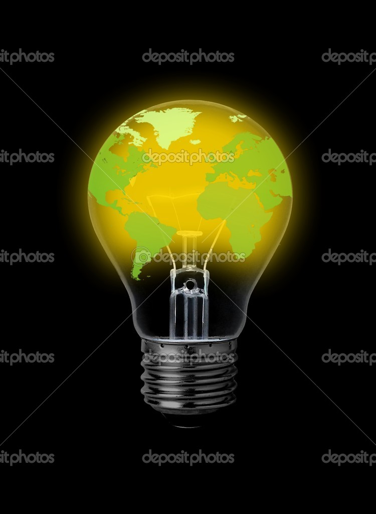 Lightbulb with world-map — Stock Photo #3973227