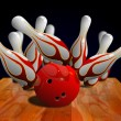 Bowling strike on pin — Stock Photo