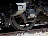 Locomotive wheel and rods — Stockfoto