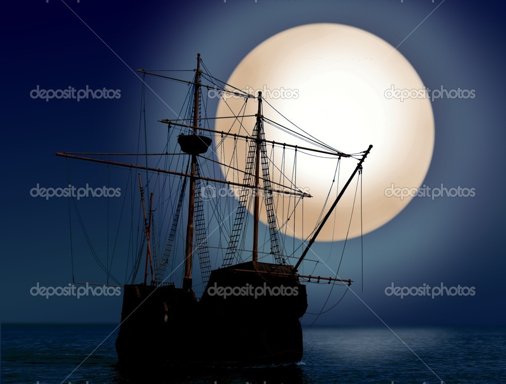 Pirate ship at night — Stock Photo #5146106