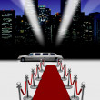 Stock Photo: Limo and red carpet with spotlight
