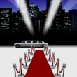 Limo and red carpet with spotlight — Stock Photo