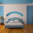 Interior of a blue bedroom — Stock Photo