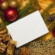 Christmas background with blank card — Stock Photo #4360559