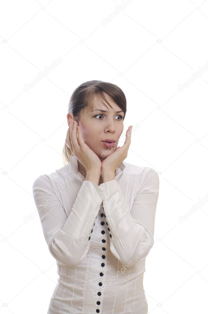 Isolated surprised young business woman showing shok — Stock Photo #5039409