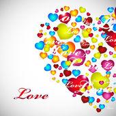 Tarjeta de san valentín con corazones rojos, naranja, amarillo, azul. — Vector de stock
