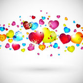 Cartão de dia dos namorados com corações vermelhas, laranja, amarelas, azuis. — Vetorial Stock