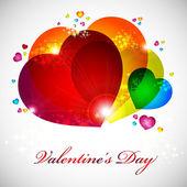 Alla hjärtans-kort med röda, orange, gul, blå hjärtan. — Stockvektor