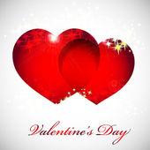 Cartolina di san valentino con cuori di rosso, arancione, giallo, blu. — Vettoriale Stock