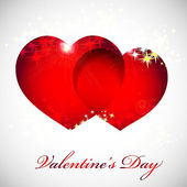 Valentinskarte mit herzen rot, orange, gelb, blau. — Stockvektor