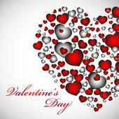 Carte de la saint-valentin avec un cœur rouge, orange, jaune, bleu. — Vecteur