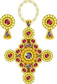 Diamond-shaped pendant with earrings — Vettoriale Stock