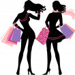 Stock Vector: Silhouette of shopping girl