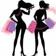 Silhouette of shopping girl — Stock Vector