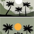 Sunset on a palm beach — Stockvectorbeeld