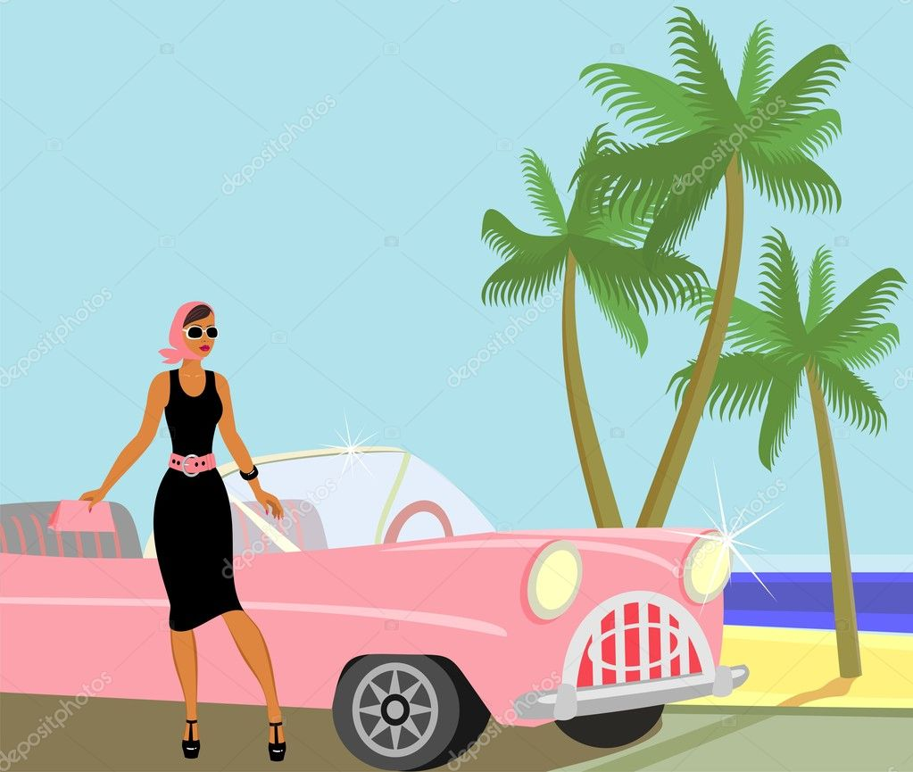 Lady came out of the buggy to enjoy the beach — Stock Vector #5106037