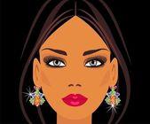 Lady in earrings — Stock Vector