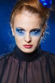 Decentní dáma s make-up kouřové oči — Stock fotografie