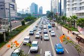 Many cars on road — Stock Photo