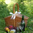 Basket for picnic - Stock Photo
