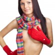 Stock Photo: Beautiful girl with red mitten and neckerchief