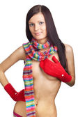 Beautiful girl with red mitten and neckerchief — Stock Photo