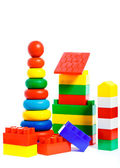 Colorful plastic toys and bricks — Stock Photo