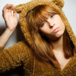 Stock Photo: Red-bearded winter sweater woman