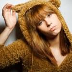 Red-bearded winter sweater woman — Stock Photo