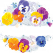Stock Vector: Pansies and forget-me-not
