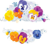 Pansies and forget-me-not — Stock Vector