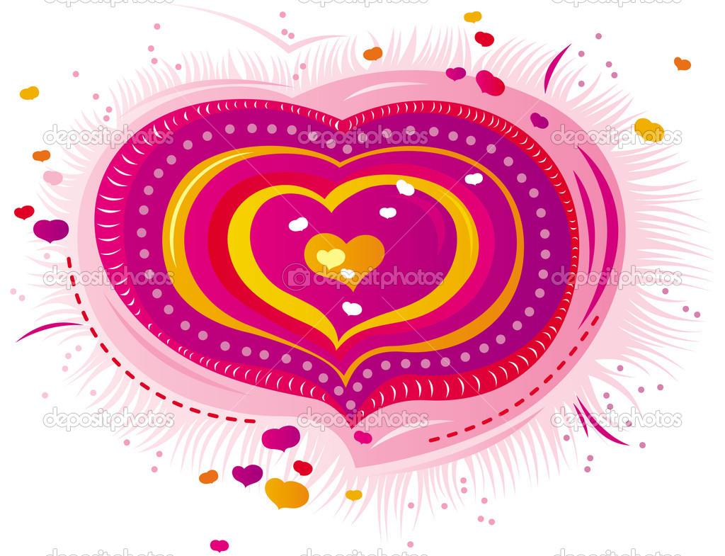 Ornament in the form of colorful hearts for the Valentine's day  Stock Vector #4684143