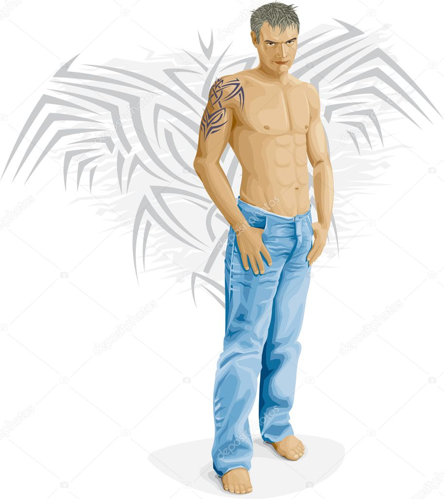 Sexy young man — Stock Vector #4684247