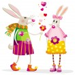 Stock Vector: Bunnies in love