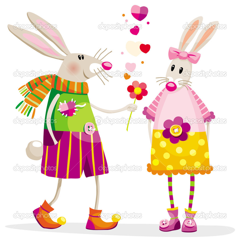 Touching bunnies in a romantic situation with a flower — Stock Vector #4711783