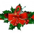 Christmas background with bow and hollyberry — Stock Vector #4485268