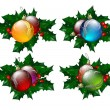 Christmas balls set  with hollyberry — Stock Vector