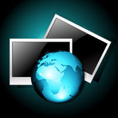 Earth with photo frames — Stock Vector