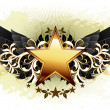Star with ornate elements — Stock Vector