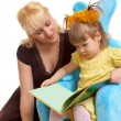 Mother and daughter reading book — Stock Photo #4141010