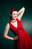 Vintage style lady in red — Stock Photo