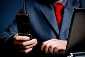 Businessman hands with phone — Stock Photo
