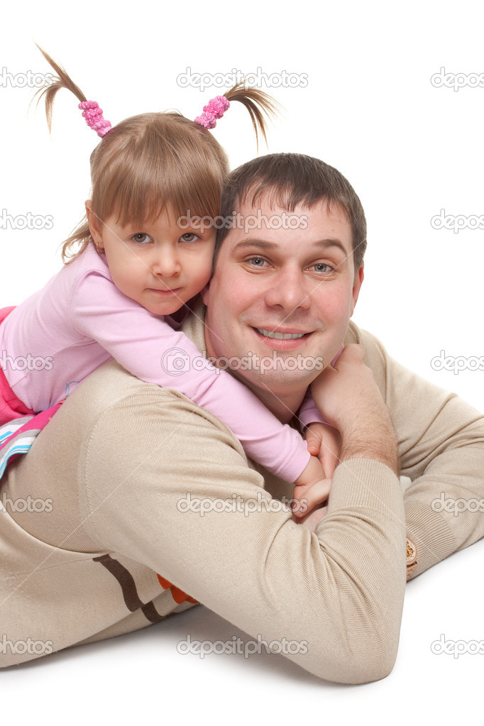 Happy father with daughter over white — Stock Photo #4140992
