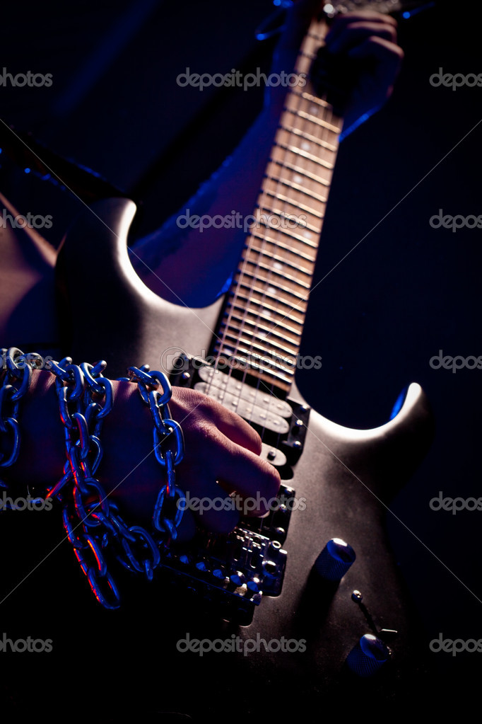Closeup guitar on metal concert — Stock Photo #4208692